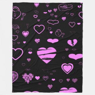 Cute Heart Modern Orchid Pattern Fleece Blanket