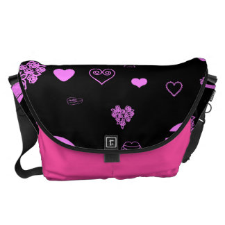 Cute Heart Modern Orchid Pattern Messenger Bag