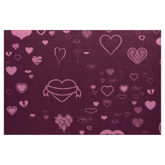 Cute Heart Modern Pink Purple Fabric