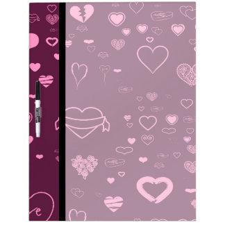Cute Heart Modern Pink Purple Pattern Dry Erase Board