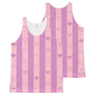 Cute Heart Modern Pink Purple Stripe All-Over-Print Tank Top