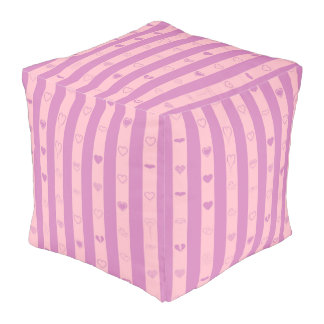 Cute Heart Modern Pink Purple Stripe Pouf
