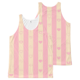 Cute Heart Modern Pink Stripe All-Over-Print Tank Top