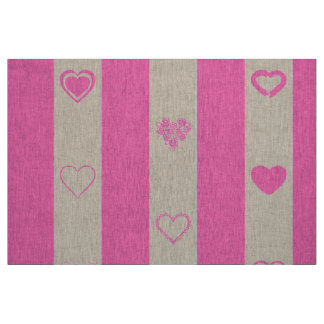Cute Heart Modern Pink Stripe Fabric