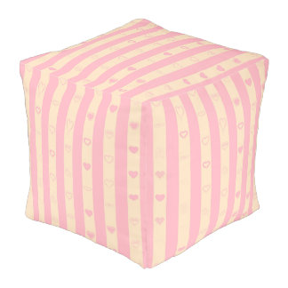 Cute Heart Modern Pink Stripe Pouf