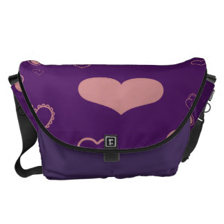 Cute Heart Modern Purple Pattern Commuter Bags