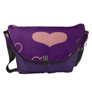 Cute Heart Modern Purple Pattern Courier Bag