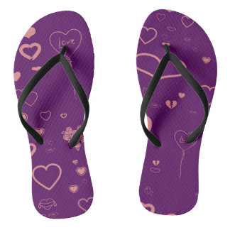 Cute Heart Modern Purple Pattern Flip Flops