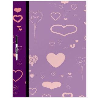 Cute Heart Modern Purple Pink Pattern Dry Erase Board