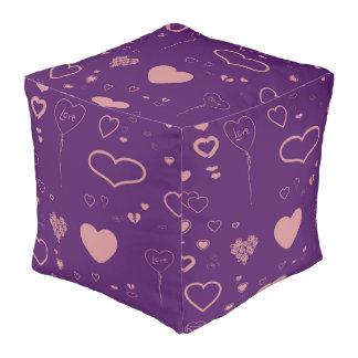 Cute Heart Modern Purple Pouf