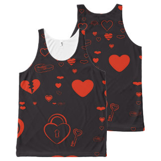 Cute Heart Modern Red All-Over-Print Tank Top