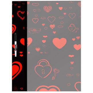 Cute Heart Modern Red Pattern Dry Erase Board