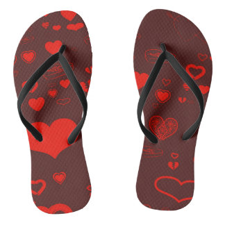 Cute Heart Modern Red Pattern Flip Flops