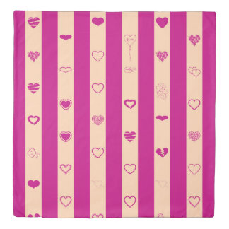 Cute Heart Modern Royal Fuchsia Stripe Duvet Cover