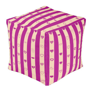 Cute Heart Modern Royal Fuchsia Stripe Pouf