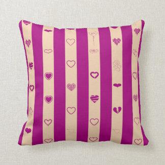 Cute Heart Modern Royal Fuchsia Stripe Throw Pillow