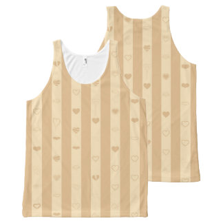 Cute Heart Modern Tan Stripe All-Over-Print Tank Top