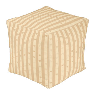 Cute Heart Modern Tan Stripe Pouf