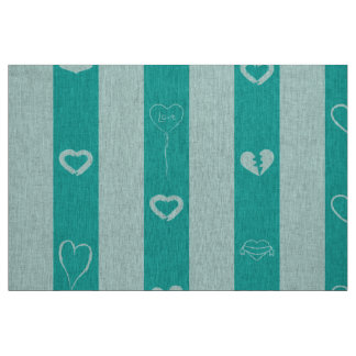 Cute Heart Modern Turquoise Stripe Fabric