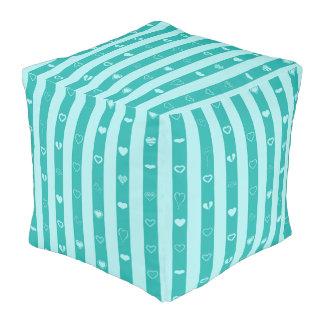 Cute Heart Modern Turquoise Stripe Pouf