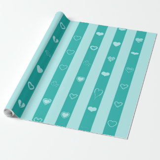 Cute Heart Modern Turquoise Stripe Wrapping Paper