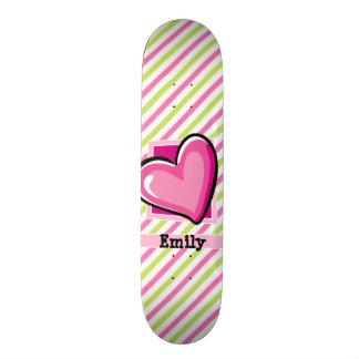 Cute Heart on Pink & Lime Green Stripes Custom Skate Board