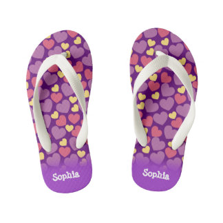 Cute Heart Pattern in Purple, Pink and Yellow Kid's Flip Flops