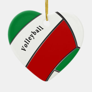 Cute Heart Shaped Volleyball Christmas Ornament