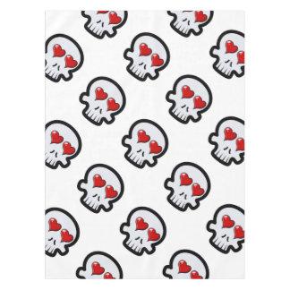 Cute Heart Skulls Cartoon Tablecloth