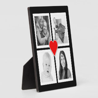 Cute Heart with Four Photos Custom Plaques