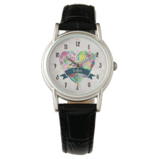 Cute Heart with Tropical Flowers Personalized Watch