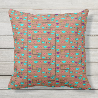 Cute Hearts Design on Brown Large Throw Pillow