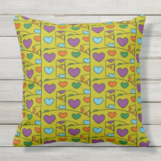 Cute Hearts Pattern on Green Large Throw Pillow
