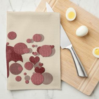 Cute Hearts Rain Kitchen Towel