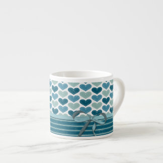 Cute Hearts  Stripes and Bow Espresso Cup