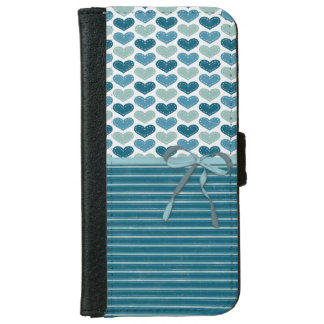 Cute Hearts  Stripes and Bow iPhone 6 Wallet Case