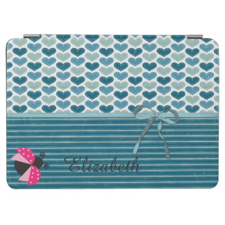 Cute Hearts  Stripes and Bow,Ladybug-Personalized iPad Air Cover