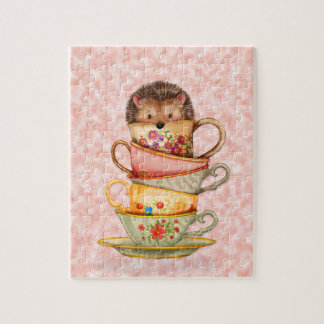 Cute Hedgehog and Stack of Colorful Teacups Pink Puzzles