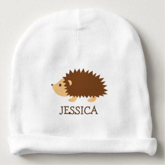 Cute hedgehog baby beanie hat with custom name