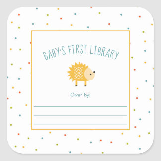 Cute Hedgehog Baby's First Library bookplate Square Sticker