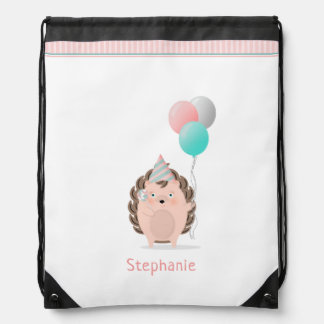 Cute Hedgehog Birthday Drawstring Bag