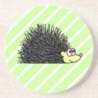 Cute Hedgehog Cartoon Green Background Coaster