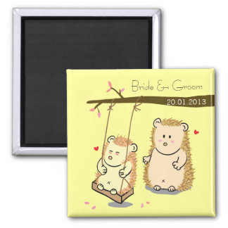 Cute Hedgehog couple at tree swing wedding favor Magnet