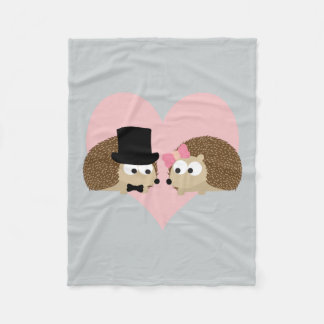 Cute Hedgehog couple Fleece Blanket