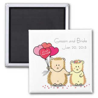 Cute hedgehog couple wedding favor magnet