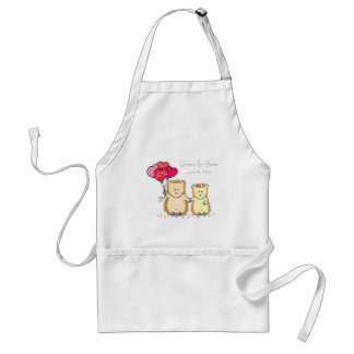 Cute hedgehog couple with balloons, just married standard apron