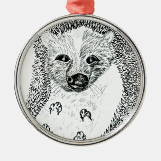 Cute Hedgehog Drawing2 Metal Ornament