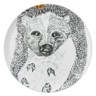 Cute Hedgehog Drawing2 Plate
