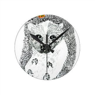 Cute Hedgehog Drawing2 Round Clock