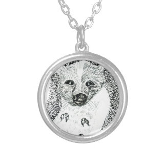 Cute Hedgehog Drawing2 Silver Plated Necklace